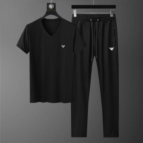 Armani Tracksuits Short Sleeved V-Neck For Men #758019