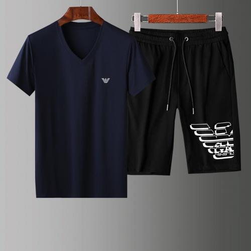Armani Tracksuits Short Sleeved V-Neck For Men #765545