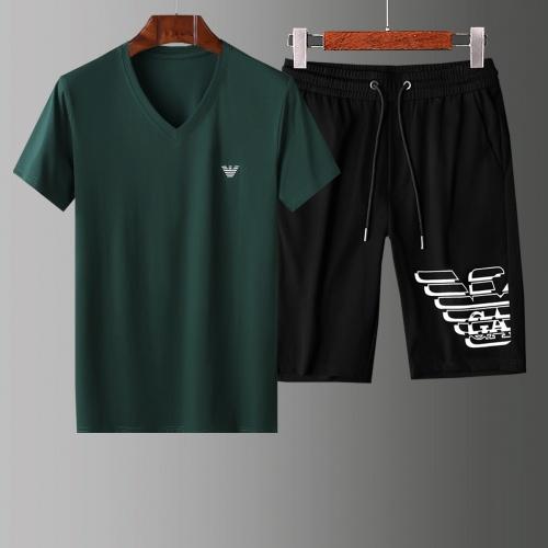 Armani Tracksuits Short Sleeved V-Neck For Men #765546