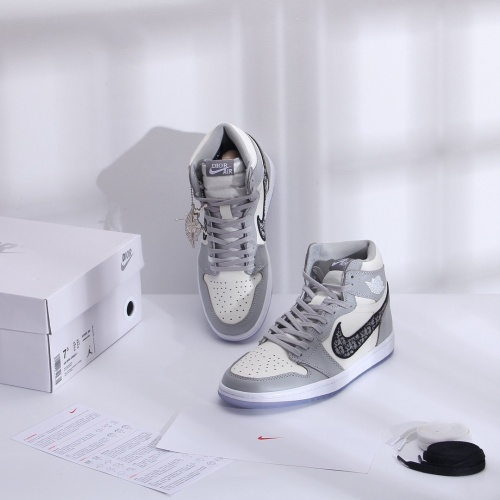 Replica Air Jordan 1 & Christian Dior High Tops Shoes For Men #766701 $129.01 USD for Wholesale