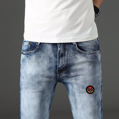 Replica Fendi Jeans Trousers For Men #785356 $43.65 USD for Wholesale