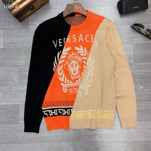 Versace Sweaters Long Sleeved O-Neck For Men #791070 $46.56, Wholesale Replica Versace Sweaters