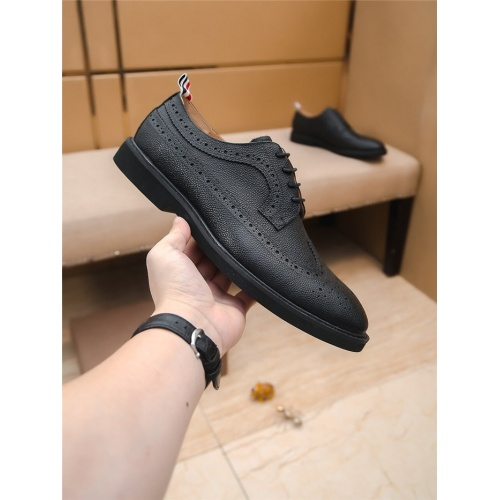 Replica Thom Browne Leather Shoes For Men #797838 $85.36 USD for Wholesale