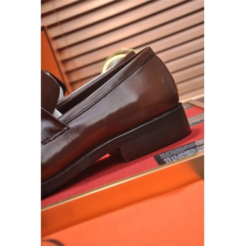 Replica Hermes Leather Shoes For Men #799604 $82.45 USD for Wholesale