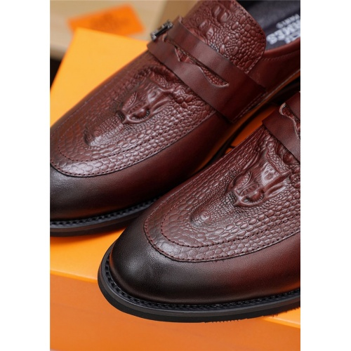 Replica Hermes Leather Shoes For Men #803987 $77.60 USD for Wholesale