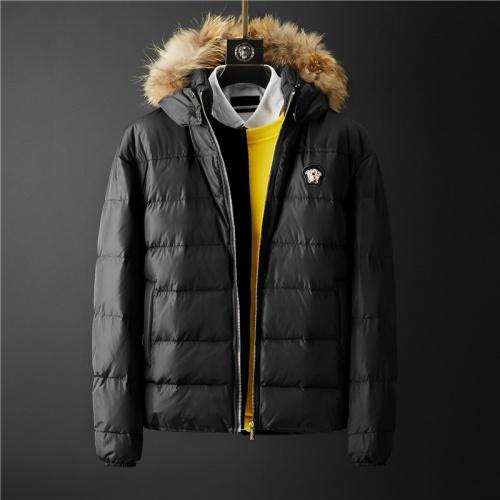 Versace Down Coat Long Sleeved Zipper For Men #804139
