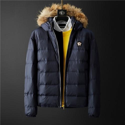 Versace Down Coat Long Sleeved Zipper For Men #804140