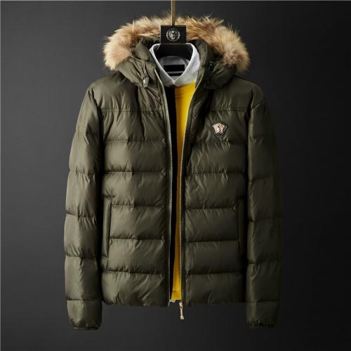 Versace Down Coat Long Sleeved Zipper For Men #804141