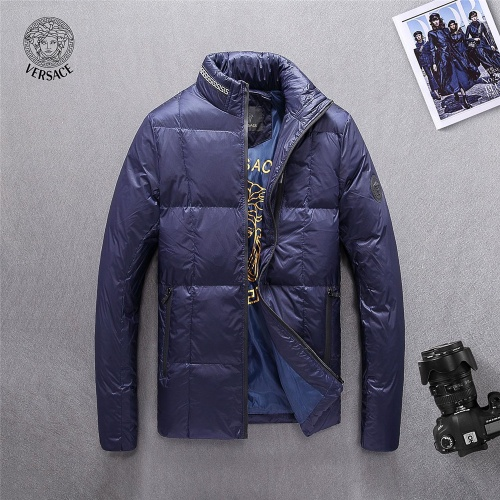 Versace Down Coat Long Sleeved Zipper For Men #804150