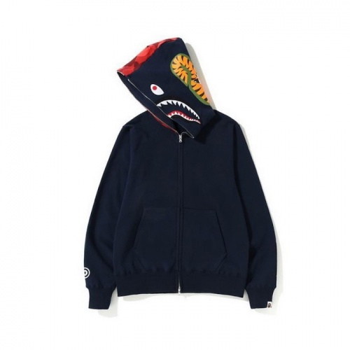 Replica Bape Hoodies Long Sleeved Zipper For Men #804375 $43.65 USD for Wholesale