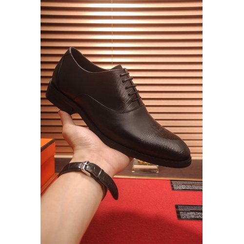 Replica Hermes Leather Shoes For Men #805905 $82.45 USD for Wholesale