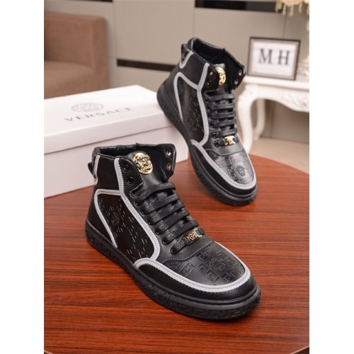 Versace High Tops Shoes For Men #812241 $85.00, Wholesale Replica Versace High Tops Shoes