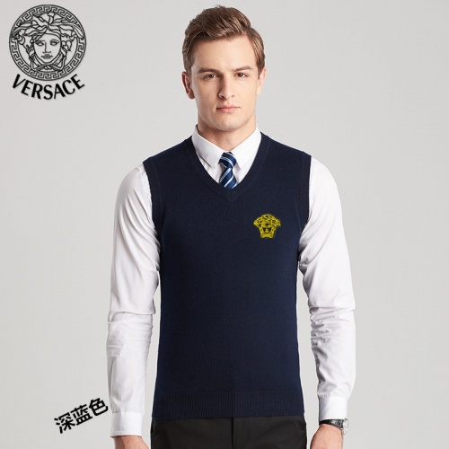 Versace Sweaters Sleeveless V-Neck For Men #814405 $38.00 USD, Wholesale Replica Versace Sweaters