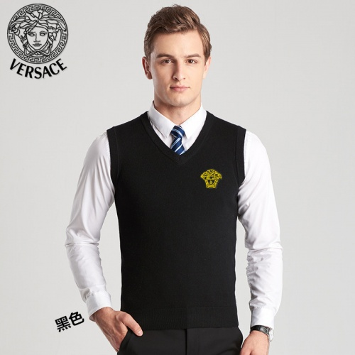Versace Sweaters Sleeveless V-Neck For Men #814406 $38.00 USD, Wholesale Replica Versace Sweaters