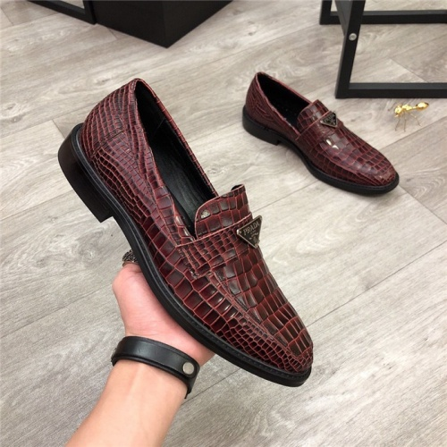 Replica Prada Leather Shoes For Men #814520 $88.00 USD for Wholesale