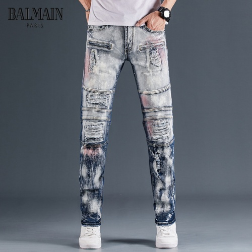 Replica Balmain Jeans Trousers For Men #815589 $48.00 USD for Wholesale