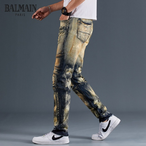 Replica Balmain Jeans Trousers For Men #815590 $48.00 USD for Wholesale