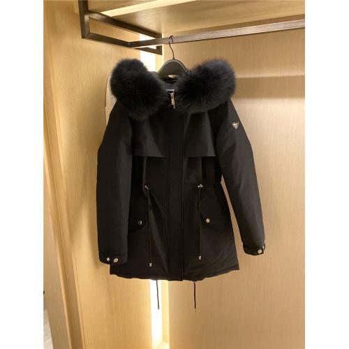 Prada Down Feather Coat Long Sleeved Zipper For Women #818530