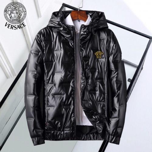 Versace Down Coat Long Sleeved Zipper For Men #818661