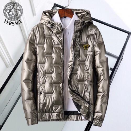 Versace Down Coat Long Sleeved Zipper For Men #818662