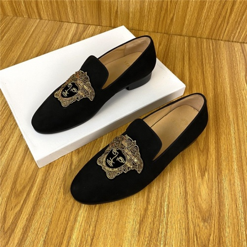 Replica Versace Leather Shoes For Men #820073 $72.00 USD for Wholesale