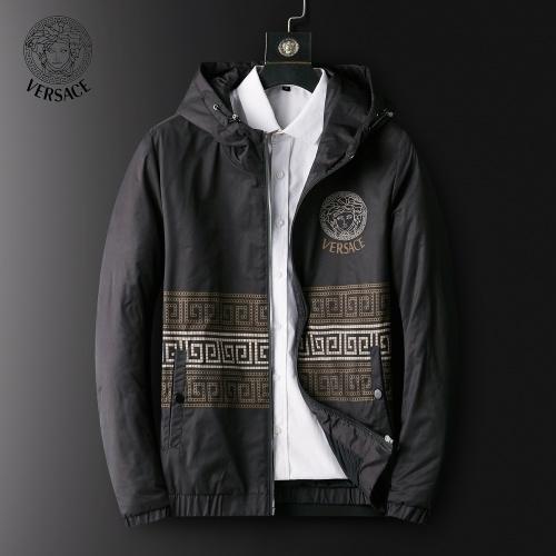 Versace Down Coat Long Sleeved Zipper For Men #820790