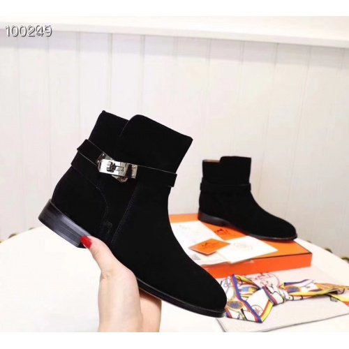 Replica Hermes Boots For Women #821595 $98.00 USD for Wholesale