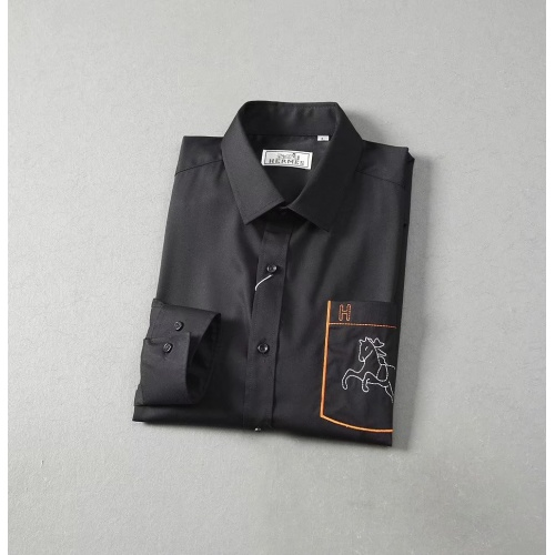 Replica Hermes Shirts Long Sleeved Polo For Men #822470 $42.00 USD for Wholesale