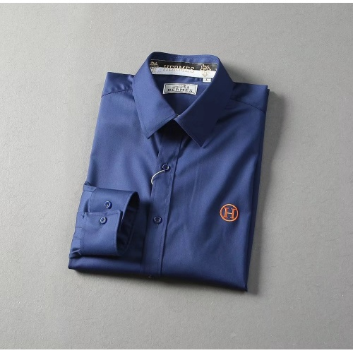 Replica Hermes Shirts Long Sleeved Polo For Men #822473 $42.00 USD for Wholesale