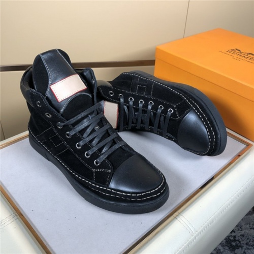 Replica Hermes High Tops Shoes For Men #823473 $80.00 USD for Wholesale