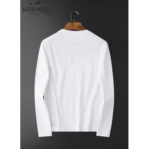 Replica Hermes T-Shirts Long Sleeved O-Neck For Men #826376 $34.00 USD for Wholesale