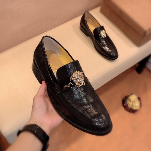 Replica Versace Leather Shoes For Men #826946 $80.00 USD for Wholesale