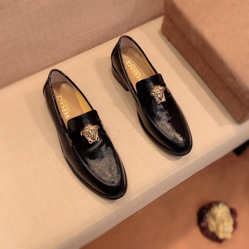 Replica Versace Leather Shoes For Men #826949 $80.00 USD for Wholesale