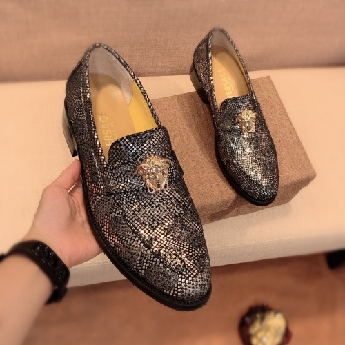 Replica Versace Leather Shoes For Men #826955 $80.00 USD for Wholesale