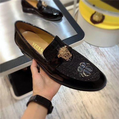 Replica Versace Leather Shoes For Men #827394 $80.00 USD for Wholesale