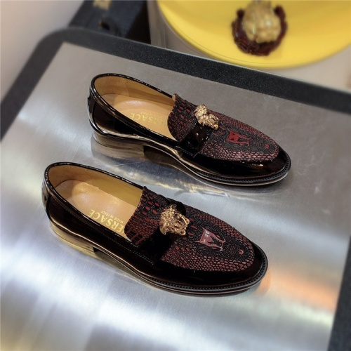 Versace Leather Shoes For Men #827406 $80.00 USD, Wholesale Replica Versace Leather Shoes