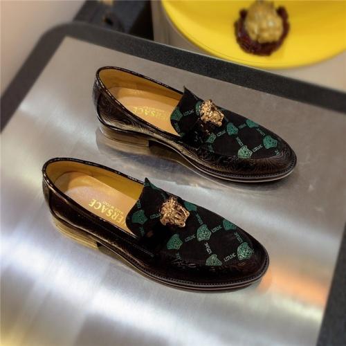 Versace Leather Shoes For Men #827407 $80.00 USD, Wholesale Replica Versace Leather Shoes
