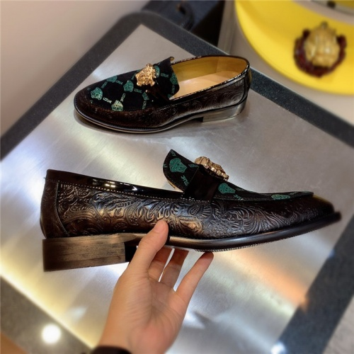 Replica Versace Leather Shoes For Men #827407 $80.00 USD for Wholesale