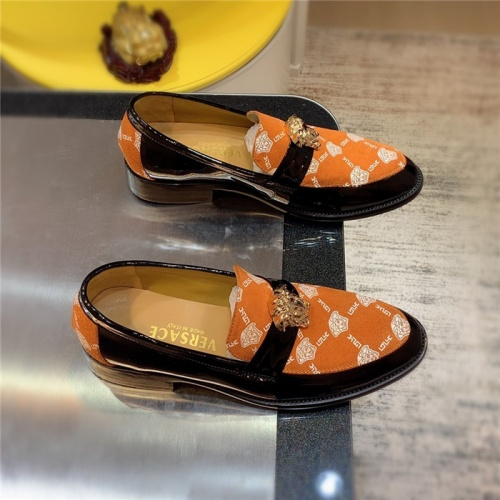 Versace Leather Shoes For Men #827409 $80.00 USD, Wholesale Replica Versace Leather Shoes