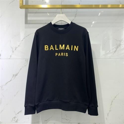 Balmain Hoodies Long Sleeved O-Neck For Men #828098 $61.00 USD, Wholesale Replica Balmain Hoodies