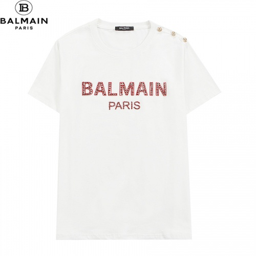 Balmain T-Shirts Short Sleeved O-Neck For Men #828460 $32.00, Wholesale Replica Balmain T-Shirts