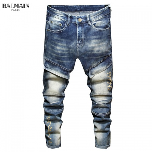 Replica Balmain Jeans Trousers For Men #829297 $48.00 USD for Wholesale