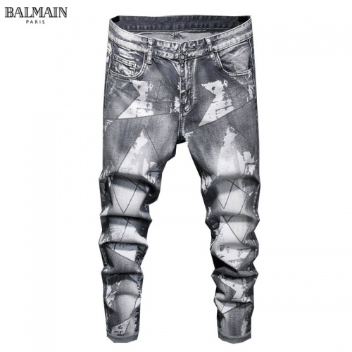 Replica Balmain Jeans Trousers For Men #829300 $48.00 USD for Wholesale