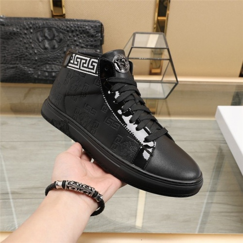 Replica Versace High Tops Shoes For Men #829928 $85.00 USD for Wholesale
