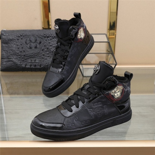 Versace High Tops Shoes For Men #832742 $85.00, Wholesale Replica Versace High Tops Shoes