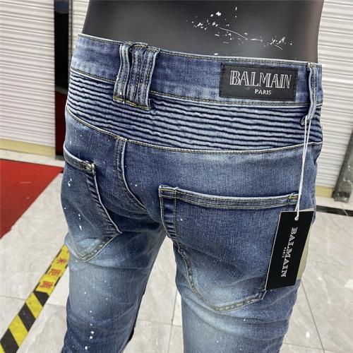 Replica Balmain Jeans For Men #833234 $62.00 USD for Wholesale