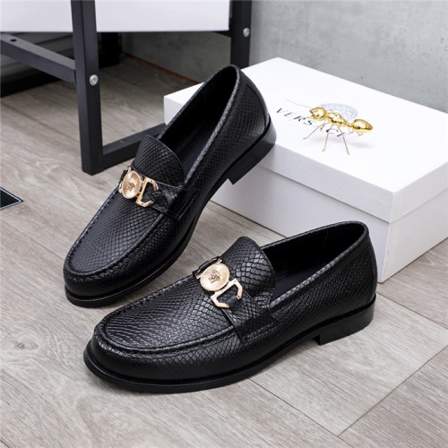 Versace Leather Shoes For Men #834950 $76.00, Wholesale Replica Versace Leather Shoes