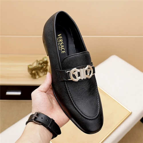 Replica Versace Leather Shoes For Men #844928 $80.00 USD for Wholesale