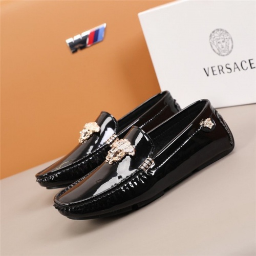 Replica Versace Leather Shoes For Men #845388 $82.00 USD for Wholesale