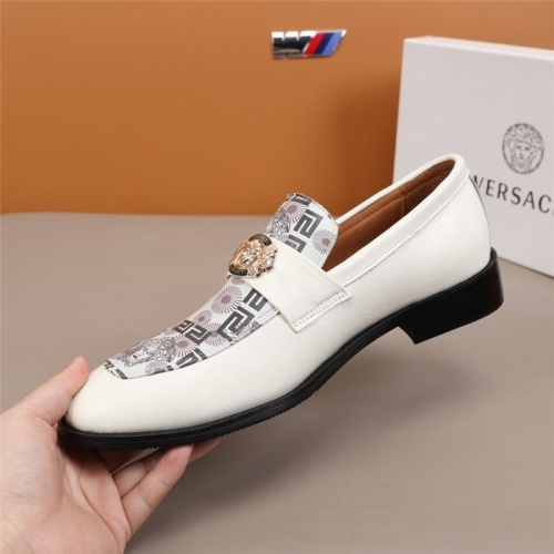 Replica Versace Leather Shoes For Men #845413 $96.00 USD for Wholesale